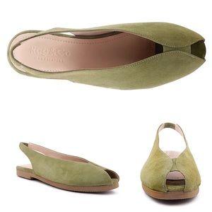 NIB Rag&Co Gretchen green flat suede sling back